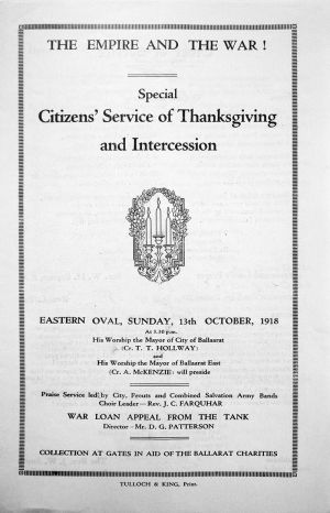Citizens' Service Program Cover 1918
