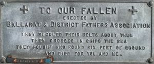 Avenue of Honour Fathers Association Plaque