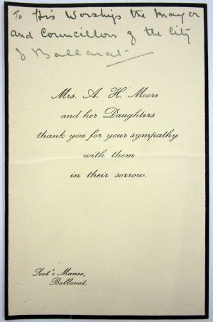 Mrs A H MOORE letter 1919